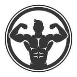 Bodybuilder Logo Icon op Witte Achtergrond Vector Royalty-vrije Stock Foto