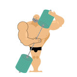 Bodybuilder loves a barbell. Athlete hugs sports accessory. Diff Stock Image