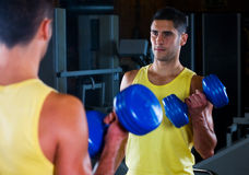Bodybuilder male with dumbells. Man training biceps with blue dumbells stock photography
