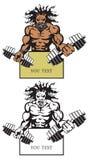 Bodybuilder malvado stock de ilustración