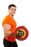 Bodybuilder man doing biceps muscle exercises Royalty Free Stock Images
