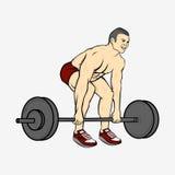 Bodybuilder man lifting heavy barbell