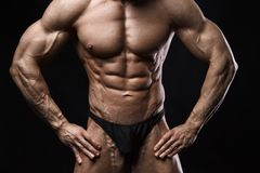 Bodybuilder man with perfect abs, shoulders,biceps, triceps and chest. stock photos