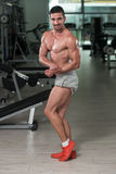 Bodybuilder Man Posing In The Gym Royalty Free Stock Photography