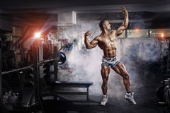 Bodybuilder man posing in the gym Stock Images