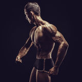 Bodybuilder man posing, showing perfect abs, houlders, biceps, triceps, chest Royalty Free Stock Image