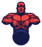 Bodybuilder mascot hold the kettlebell. Vector of bodybuilder mascot hold the kettlebell Stock Image