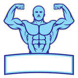 Bodybuilder mascot pose show his muscle Stock Image