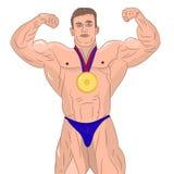 Bodybuilder masculin musculaire montrant le biceps Sur le fond blanc illustration libre de droits