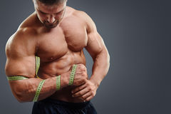 Bodybuilder measuring biceps with tape measure. Closeup of bodybuilder holding tape measure. Wrong biceps measuring concept. Muscular young man tries to measure royalty free stock photos
