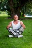 Bodybuilder Meditating Royalty Free Stock Photography