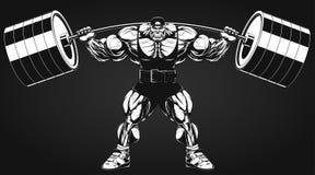 Bodybuilder met een barbell Stock Fotografie