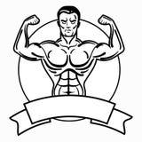Bodybuilder met een sportieve lichaamsbouw Een mens met spierspieren Zwart-wit atletenembleem Sportenembleem Meester van stock illustratie