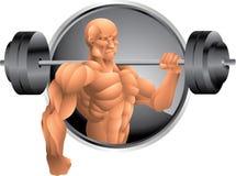 Bodybuilder mit Gewichtshintergrund Lizenzfreie Stockfotos