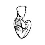 Bodybuilder mit Tätowierung stock abbildung