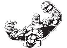 Bodybuilder musculaire illustration de vecteur