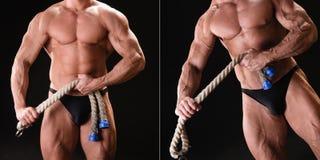 Bodybuilder musculaire avec la corde Image libre de droits