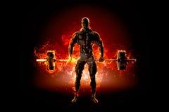 Bodybuilder musculaire avec le barbell Le feu éclatent le concept illu 3d Images libres de droits