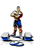 Bodybuilder musculaire avec le poids Images libres de droits