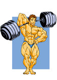 Bodybuilder musculaire posant avec un barbell Photographie stock
