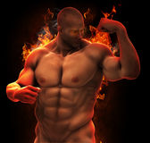 Bodybuilder Muscular hero in fire. Bodybuilder with Muscular body, six pack figure, looking at the strong arm, in strong flames, fire in background. Visualizing Royalty Free Stock Photo
