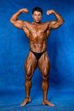 Bodybuilder napina jego mięśnie w studiu Zdjęcie Stock