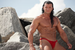 Bodybuilder in nature Royalty Free Stock Photo