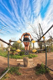 Bodybuilder at parallel bars Royalty Free Stock Photography