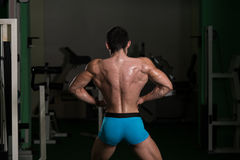 Bodybuilder Performing Back Lat Spread Poses Stock Images