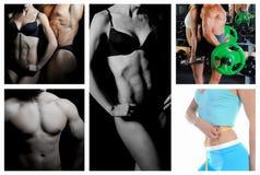Bodybuilder posing on the black background Royalty Free Stock Image