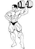 Bodybuilder posing with dumbbells. Illustration,ink,black and white,logo,outline, on a white Royalty Free Stock Image