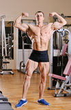 Bodybuilder posing at gym Royalty Free Stock Photography