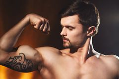 Bodybuilder posing in studio. Handsome power athletic guy male. Studio portrait of handsome young strong man  posing in studio Royalty Free Stock Photo