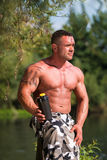 Bodybuilder with Protein Shake Royalty Free Stock Photos