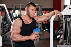 Bodybuilder protein shake Stock Photography