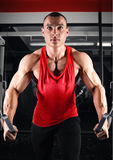 Bodybuilder pumping up muscles on crossover Stock Photography