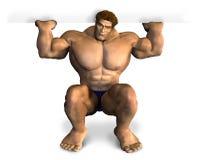 Bodybuilder que levanta el borde de una muestra en blanco - con el camino de recortes stock de ilustración