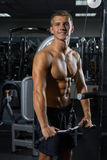 Bodybuilder que presenta en la gimnasia Foto de archivo