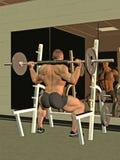 Bodybuilder que se pone en cuclillas con la barra Imagen de archivo libre de regalías