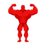 Bodybuilder red cartoon. Athlete with big muscles. Sportsman on Royalty Free Stock Photography