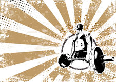 Bodybuilder retro poster background Stock Photo