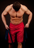 Bodybuilder with  rope Stock Photo
