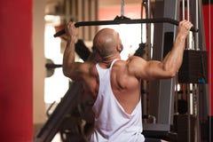 Bodybuilder s'exerçant de retour dans le gymnase Photos libres de droits