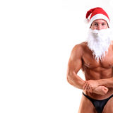 Bodybuilder santa claus Stock Photo