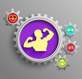 Bodybuilder set inside sprocket gear cog on  purple background. Illustration of a bodybuilder set inside sprocket gear cog on  purple background Royalty Free Stock Photography