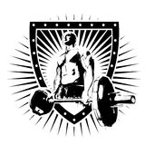 Bodybuilder shield. Bodybuilder illustration on the shield Stock Photography