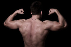 Bodybuilder showing his back muscles. Body of bodybuilder from the back  on black Royalty Free Stock Photo