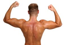 Bodybuilder showing his muscles Stock Photos