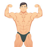 Bodybuilder showing muscles Royalty Free Stock Photos
