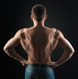 Bodybuilder shows dorsi Stock Photos